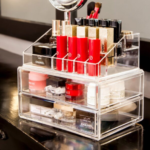 收納盒  雙層二抽  壓克力彩妝收納盒 式 化妝台 文具 廚房 衛浴 桌上收納 口紅 ~B
