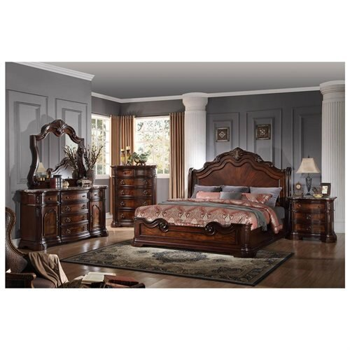 B1003 Barneys Traditional Walnut with Marble Panel Bedroom Set (Queen)