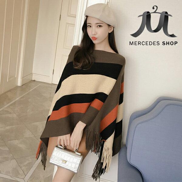 《全店75折》限時特價 兩穿式圍巾流蘇蝙蝠衫針織條紋披肩外套(3色) - 梅西蒂絲(現貨+預購) 2
