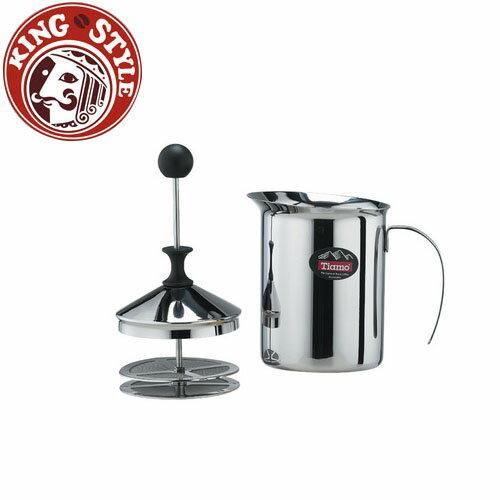 金時代書香咖啡 Tiamo 雙層濾網 不鏽鋼奶泡杯 400cc 電磁爐可用