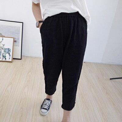 休閒褲純色長褲-簡約百搭舒適鬆緊腰女褲子2色73tq50【獨家進口】【米蘭精品】