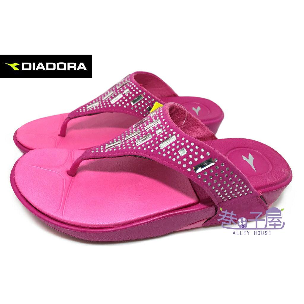【巷子屋】義大利國寶鞋-DIADORA迪亞多納 女款亮鑽輕量休閒夾腳拖鞋 [3272] 桃 超值價$198