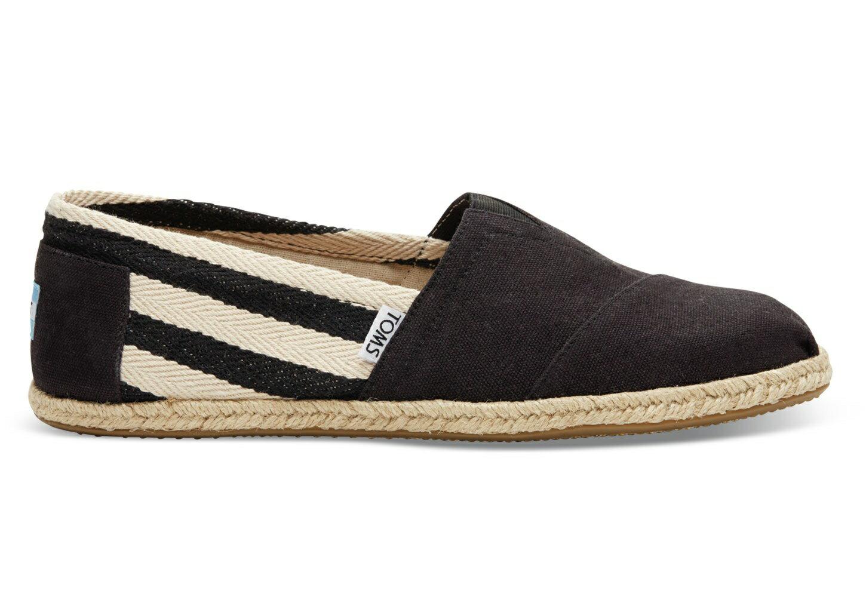 【TOMS】黑色寬條紋學院風平底鞋  Black Stripe University Women's Classics 2