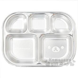〔小禮堂韓國館〕懶懶熊 不鏽鋼餐盤《銀.5格》大臉系列