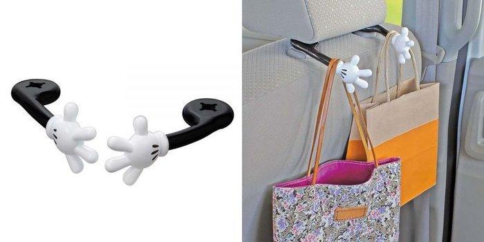 權世界@汽車用品 日本 NAPOLEX WD-288 Disney 米奇 手型造型 頭枕用 包包掛勾 置物架 2入