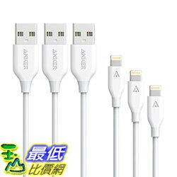 [106美國直購] [3 Pack:3ft,6ft,10ft]Anker PowerLine Lightning Apple MFi Certified -White 充電線 傳輸線
