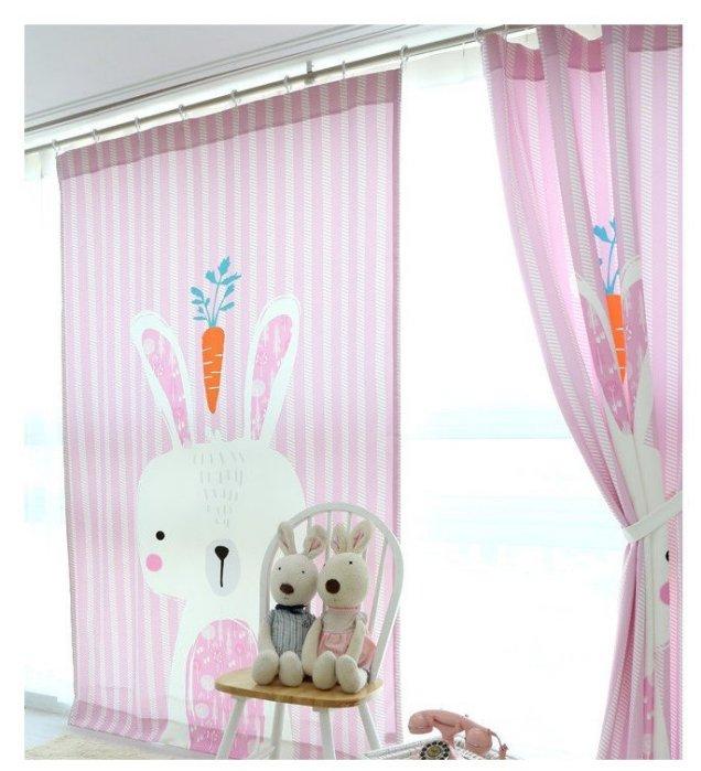 C0014 超萌可愛 韓國風格 85*140 CM 可愛小兔兒童房窗簾/ 門簾/ 遮光簾