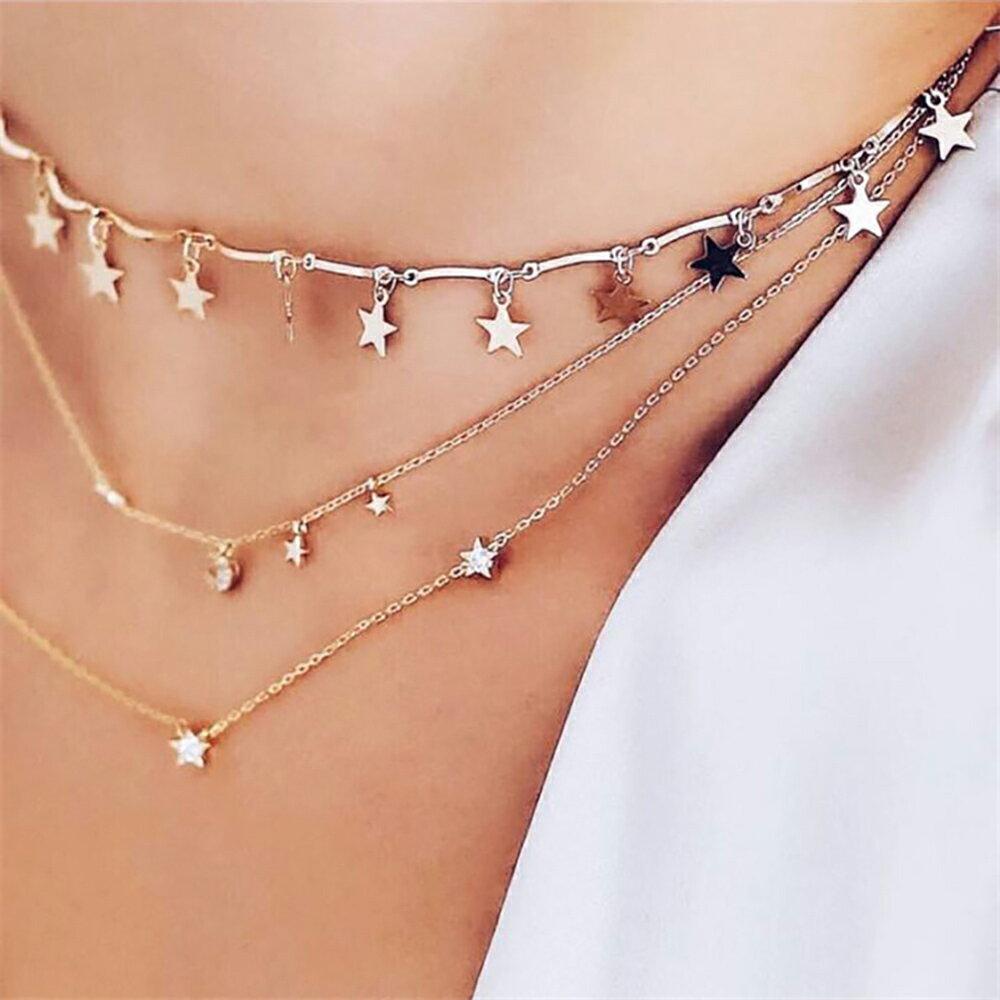 PS Mall 歐美個性氣質項鍊 金屬五角星星吊墜弧形鏈條鎖骨鏈 頸鏈【G013】