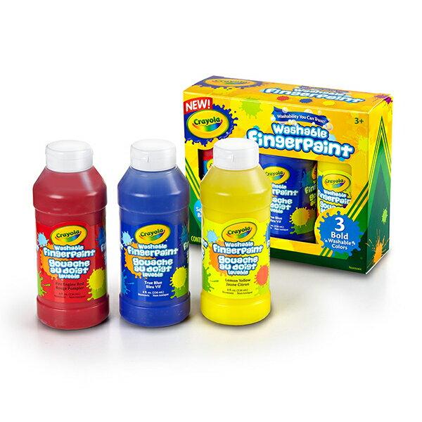 《 美國 Crayola 繪兒樂 》可水洗手指畫顏料3色 (紅/黃/藍)
