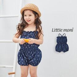 Little moni 印花丹寧牛仔連身褲-深藍