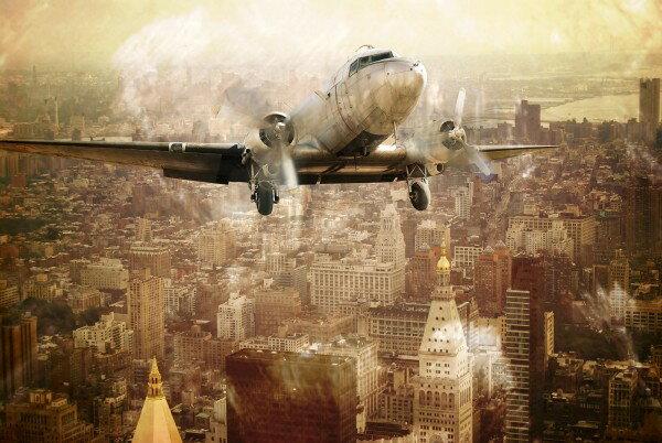 復古風飛機圖案壁畫訂製客製壁畫e23202