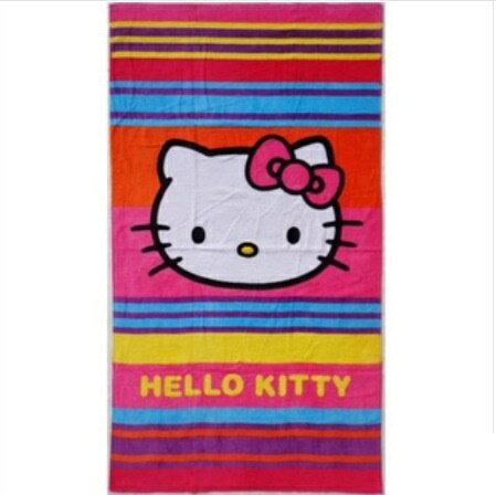 *vivi shop* 可愛小貓 KittY造型版 優質100%純棉海灘巾 大毛巾 浴巾 絕不退色