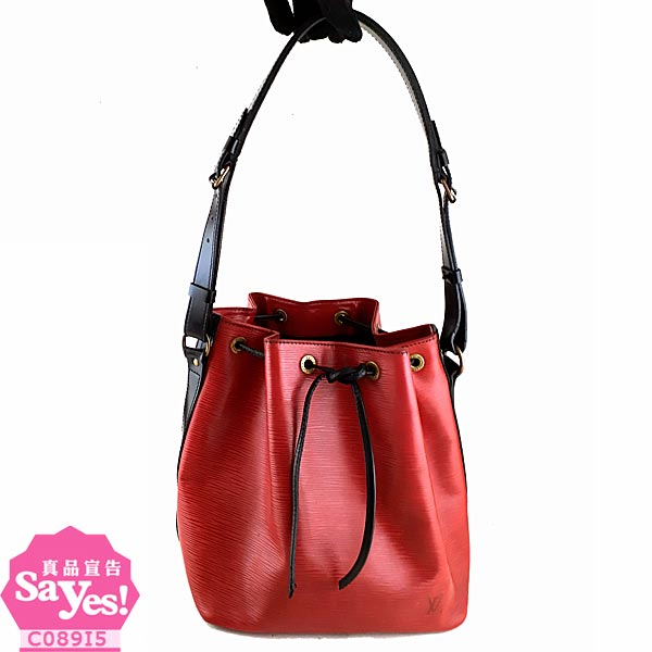 【奢華時尚】秒殺推薦!LV M44172 紅黑雙色EPI麥穗壓紋肩背中水桶包(八成新)#20862