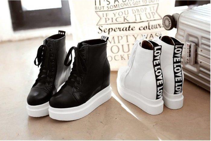Pyf ~ 英文字母裝飾 素面休閒球鞋 超高 內增高 厚底球鞋 鞋 43 大 女鞋