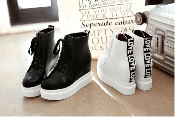 Pyf♥英文字母裝飾素面休閒球鞋超高內增高厚底球鞋運動鞋43大尺碼女鞋