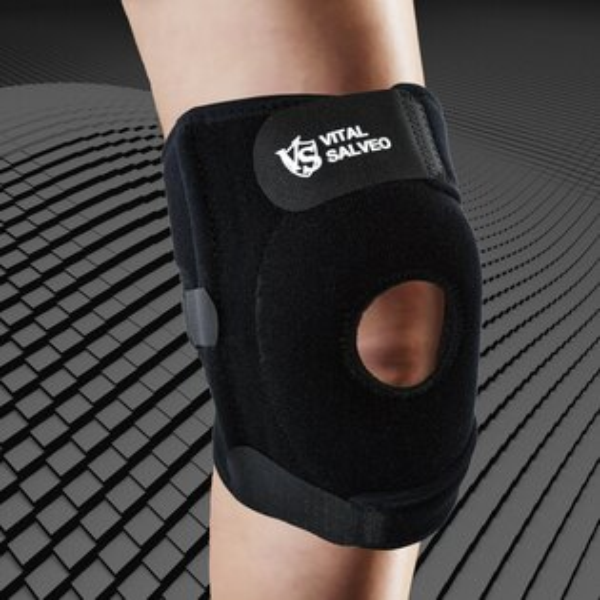 7.5吋可調式支撐軟墊型鍺能量護膝(單支入)運動防護復健鍺有氧健身跑步慢跑路跑籃球羽球自行車登山膝蓋痛運動護具【VITALSALVEO】