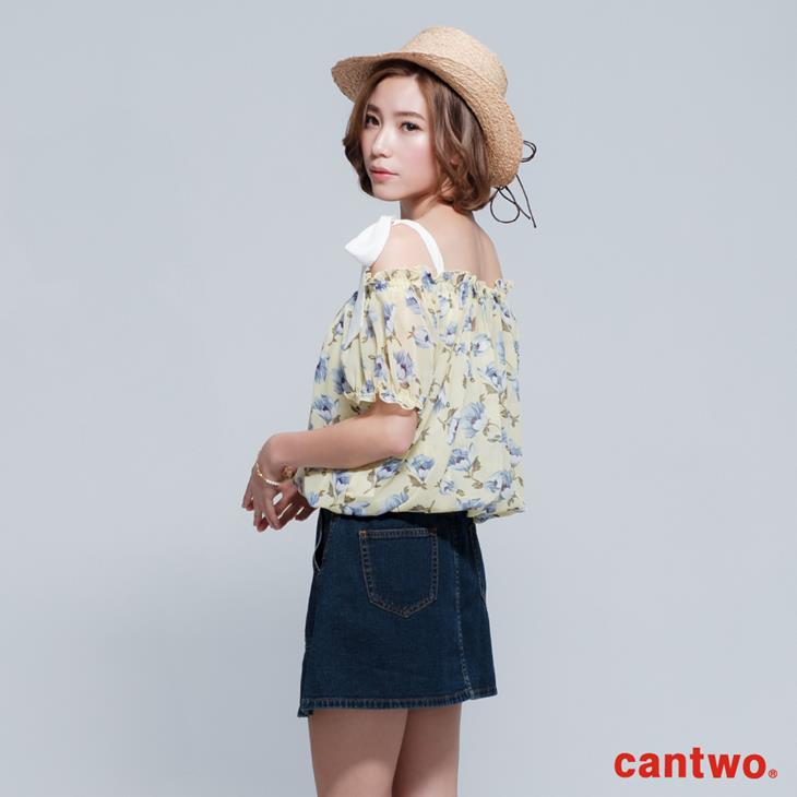 cantwo雪紡印花兩件式短袖上衣(共三色) 2