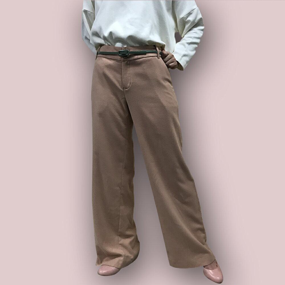 grove  秋感雙釦駝色寬 褲
