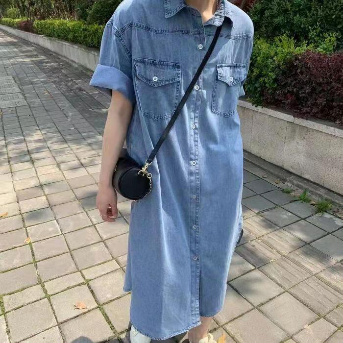 夏款翻領單排扣水洗牛仔襯衫連衣裙寬鬆中長款直筒裙 連身裙 洋裝