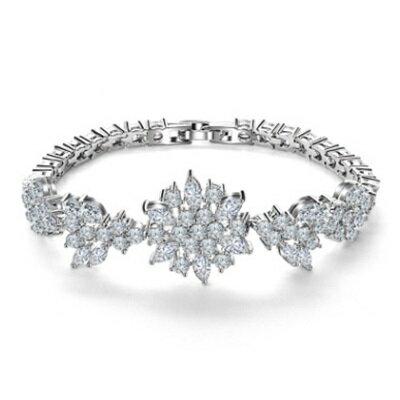 ~純銀手鍊 鍍白金鑲鑽手環~ 焦點獨特魅力生日情人節 女飾品73cv63~ ~~米蘭 ~