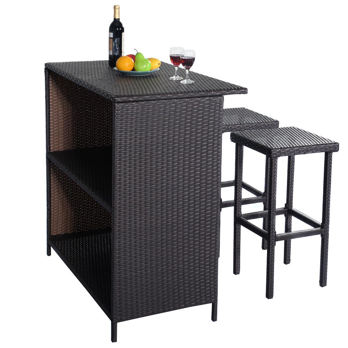 Costway 3PCS Rattan Wicker Bar Set Patio Outdoor Table & 2 Stools Furniture Brown 2
