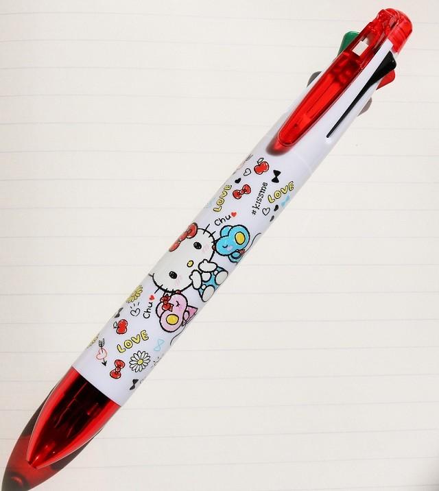 X射線【C224457】Hello Kitty 5色原子筆+自動鉛筆,多色筆/多用筆/油性筆/螢光筆/油漆筆