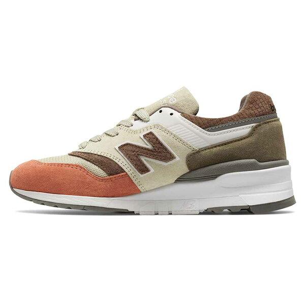 NEWBALANCE997男鞋女鞋復古休閒皮革網布卡其軍綠橘紅【運動世界】M997CSU