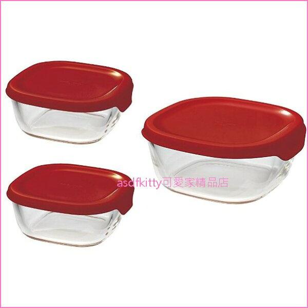 asdfkitty可愛家☆HARIO日本製-3入紅蓋方型玻璃保鮮碗-可微波-日本製