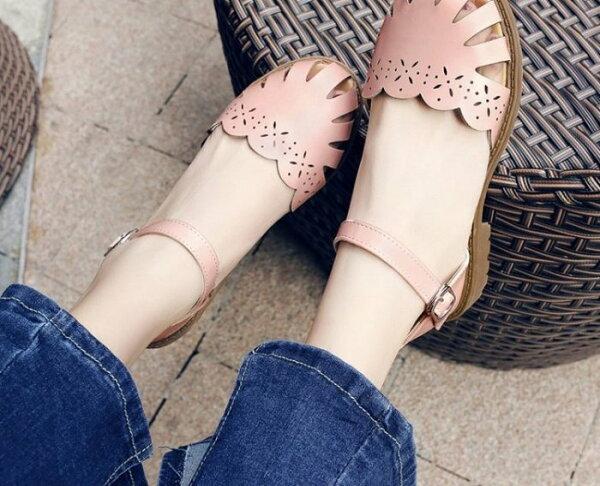 Pyf♥羅馬雕花簍空包鞋繫帶繞踝低跟平底休閒鞋43大尺碼女鞋