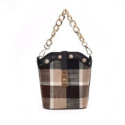 手提包肩背水桶包-鍊條格子鎖扣時尚女包包3色73fc298【獨家進口】【米蘭精品】