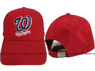 Shoestw【5032064-150】MLB 棒球帽 調整帽 老帽 國民隊 紅 凸繡
