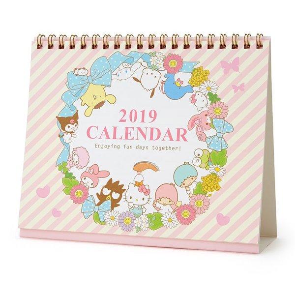 【真愛日本】18090900002日本製桌曆-MX全人物花圈ADG凱蒂貓kitty桌曆月曆2019年