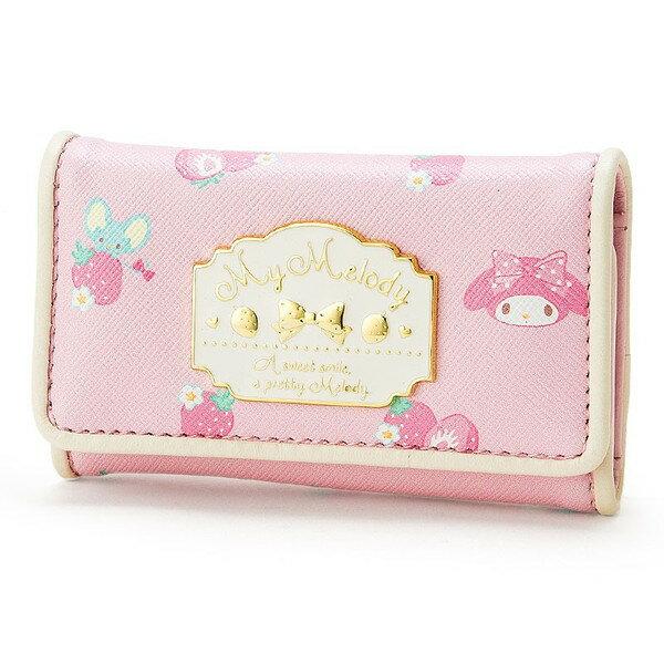 【真愛日本】16090100017   PU皮革扣式鑰匙鎖包-MM草莓粉  三麗鷗家族 Melody 美樂蒂  長夾 鑰匙包  鎖包