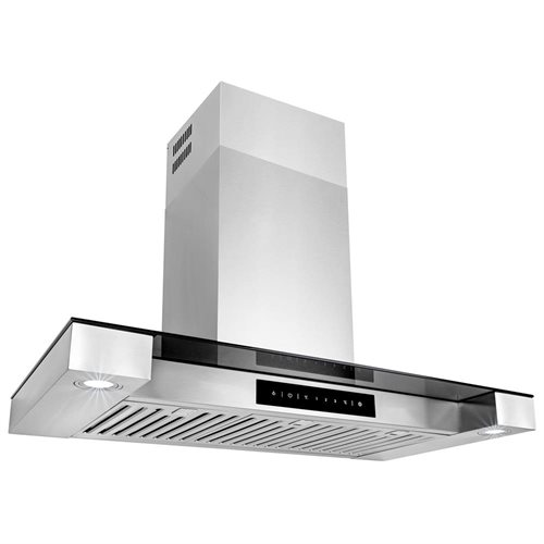 "Golden Vantage 36"" Wall Mount Stainless Steel & Tempered Glass Touch Screen Kitchen Vent Range Hood 2"