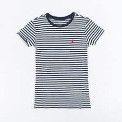 美國百分百【Ralph Lauren】女 RL POLO 短袖 T-shirt T恤 上衣 圓領 深藍白 條紋XS M號  I031