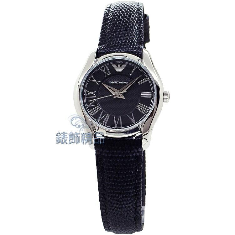 【錶飾精品】ARMANI手錶/ARMANI錶/亞曼尼/黑面羅馬時標黑皮帶女表AR1712全新原廠正品