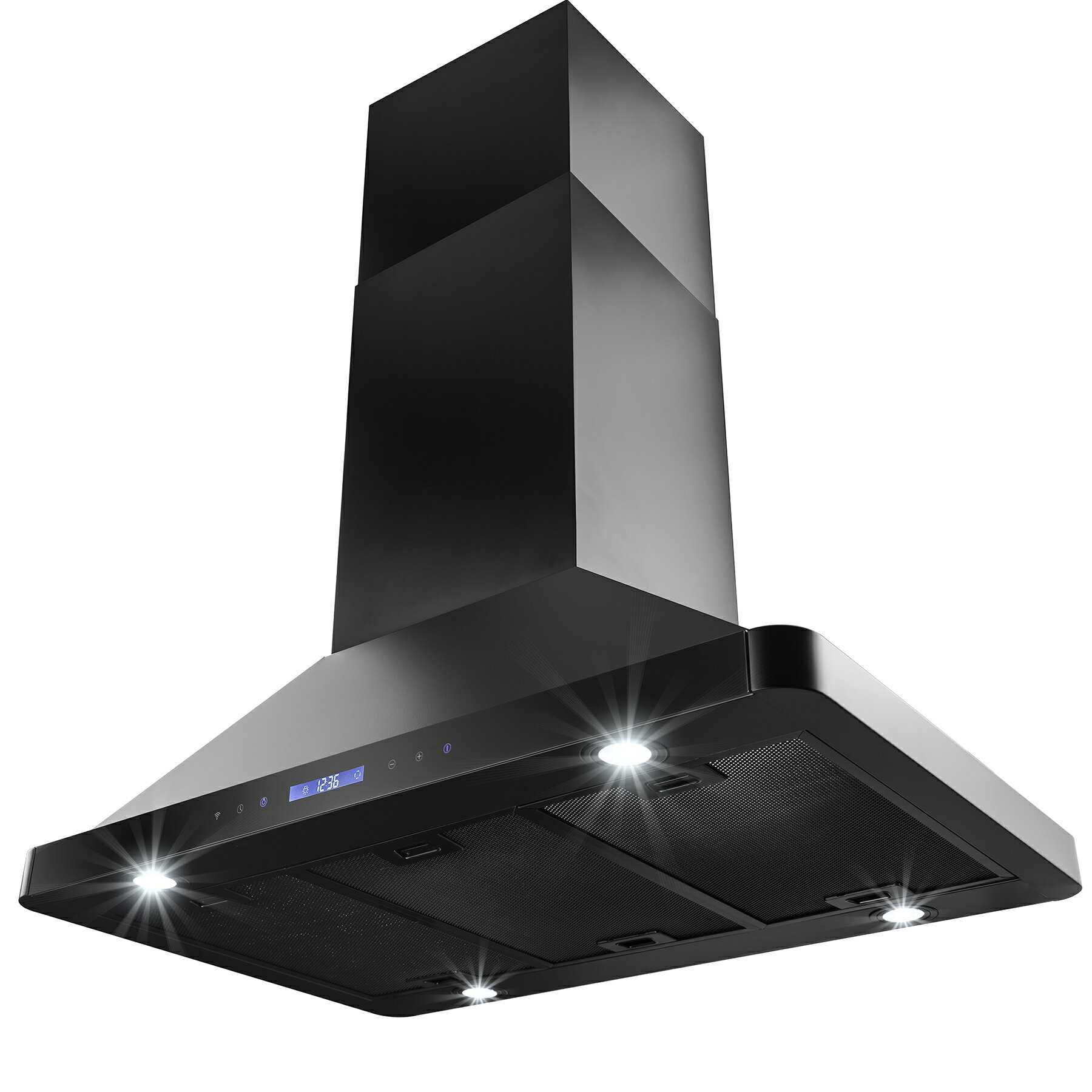 "AKDY 36"" Island Mount Black Finish Stainless Steel Kitchen Vent Dual Side Touch Control Range Hood w. R 2"
