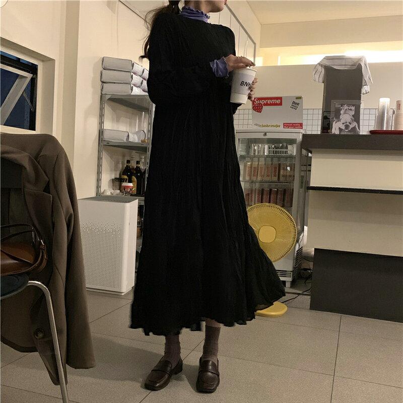 秋季連衣裙女新款韓版氣質百搭蛋糕裙寬松網紅內搭打底裙長裙1入