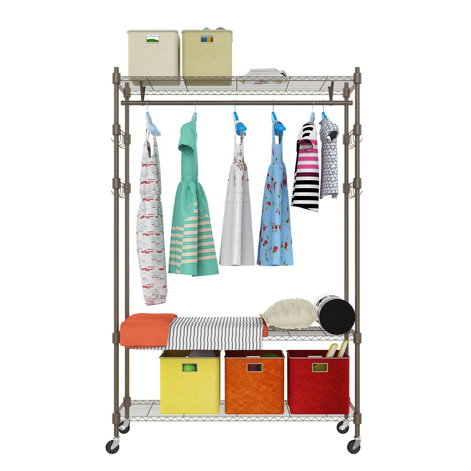 Portable 3-Tier Wire Shelving Clothes Shelf Garment Rack with Side Hooks and  Wheels 1