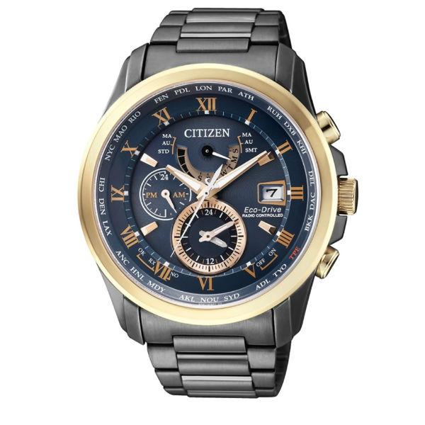 CITIZEN星辰AT9088-80L 金城武廣告時尚電波光動能腕錶/黑玫瑰金43mm