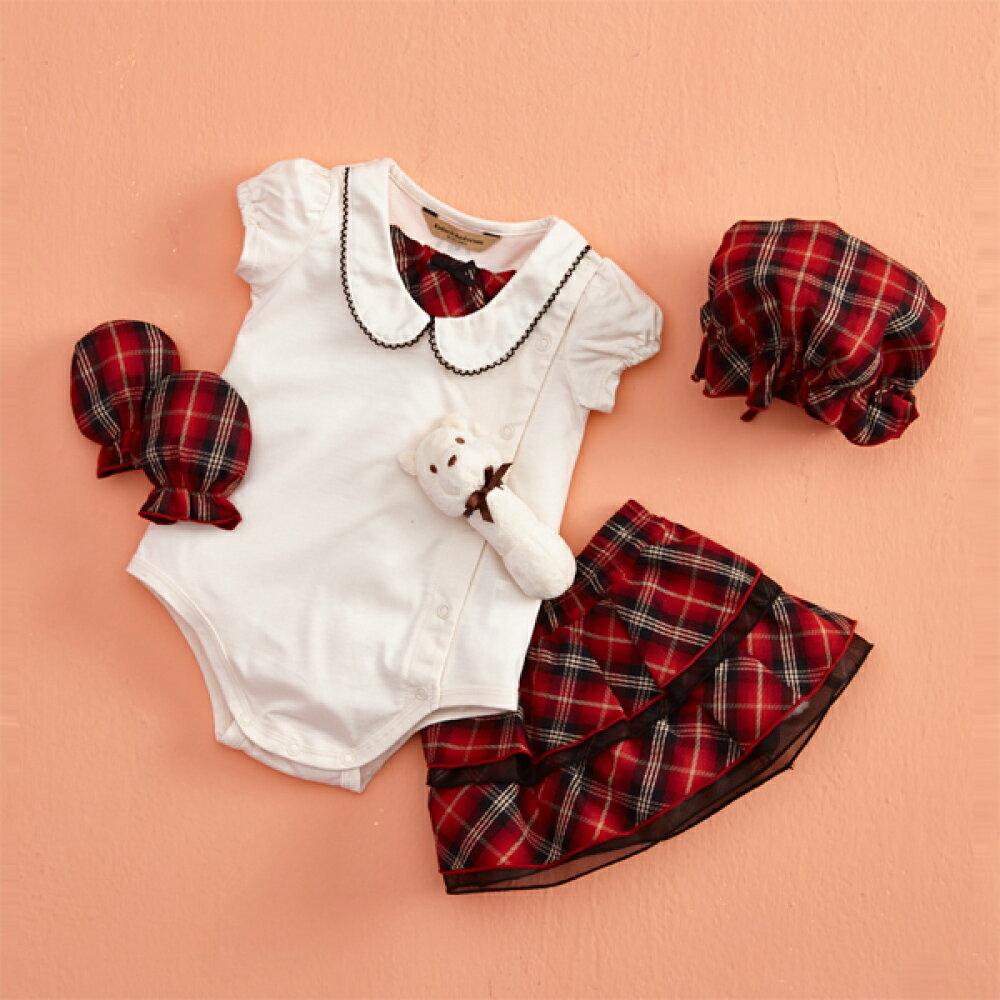 【金安德森】春夏彌月禮盒-二件組短袖兔裝+俏麗短裙(紅格裙)