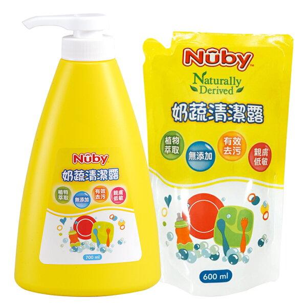 美國Nuby奶蔬清潔露組合包(1罐1包)