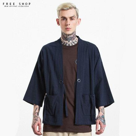 Free Shop:FreeShop經典基本款棉麻材質日式和服外套道袍日系風格時尚潮流秋新款軍綠黑深藍色【QFSNL1133】