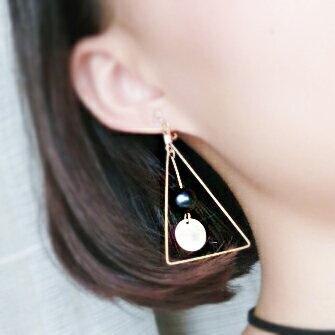 火山石黃銅三角形耳環  耳夾