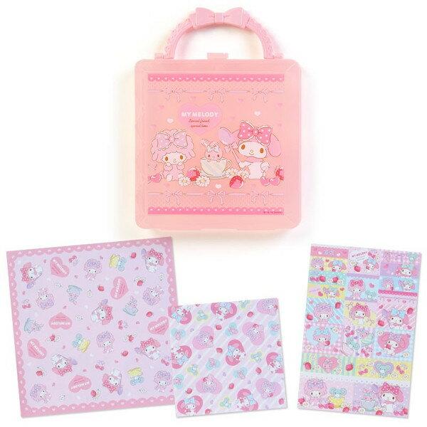 三麗鷗 美樂蒂手提盒便條紙 粉把 日貨 正版授權L00010334