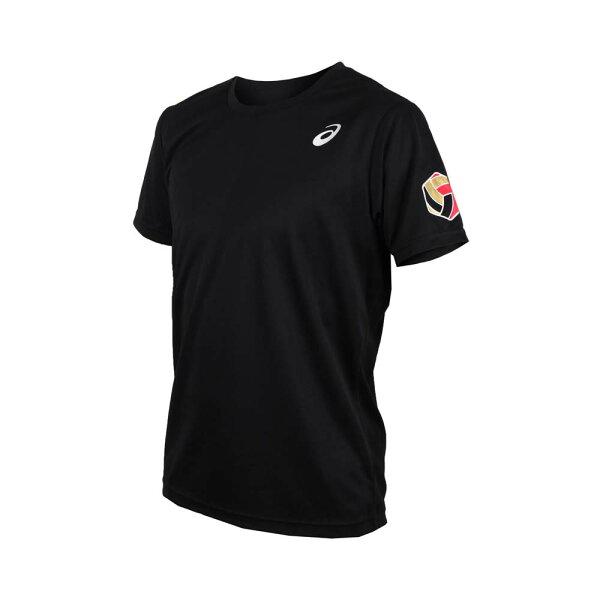 【ASICS亞瑟士】男排球短袖T恤印花運動短T-XW6735-90A黑[陽光樂活]