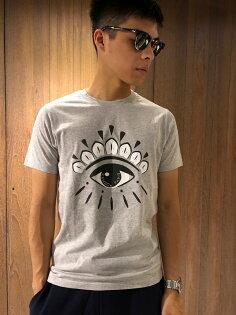 美國百分百【全新真品】KENZO高田賢三T恤圓領T-shirt短袖logo眼睛印圖灰色J072
