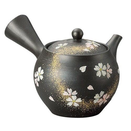 《富樂雅居》日本製 常滑燒 黒泥 二色櫻 急須壺 (340ml)