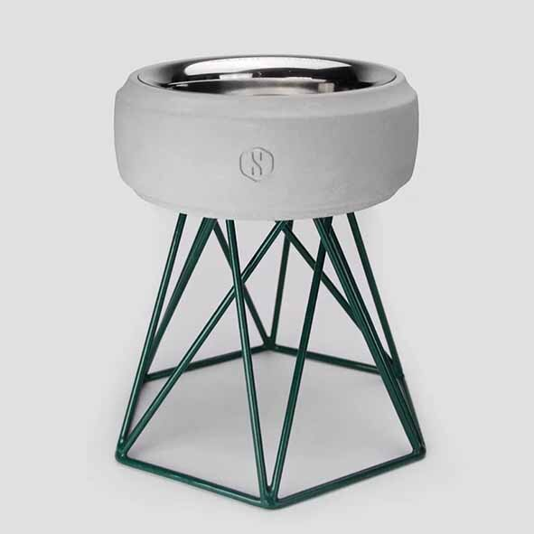 SPUTNIK 寵物碗架 Cozy Cement Bowl - 白水泥+綠架(M2) Pet's Talk 1