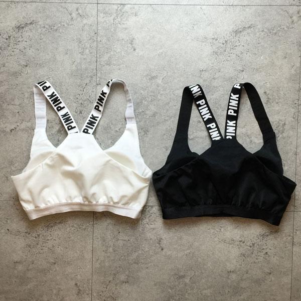 PINK 運動背心 英文字母短版露肚 彈性萊卡跳舞 黑白 罩杯胸墊 比基尼爆乳 韓 Anna S.